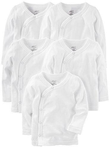 Simple Joys by Carter's Baby 5-Pack Side-Snap Long-Sleeve Shirt, White, 3-6 Months