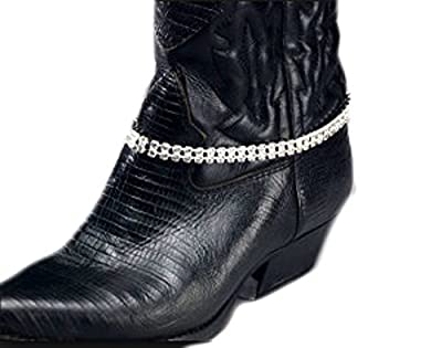Roger Enterprises Boot Anklet Boot Chain 2 Row Strands of Rhinestone Adjustable