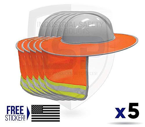 ML Kishigo 2874-6 Full Brim Sun Shield Color Orange (5 Pack) Include Free Sticker (American Flag) by ML Kishigo