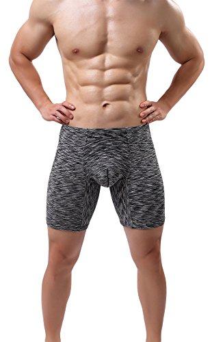Men's No Ride up Underwear Seamless Boxer Briefs Performance Sexy Comfort Undies Black M