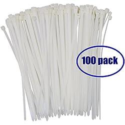 Heavy Duty Zip Ties UV Resistant White 8 Inch Wide 4.8mm Nylon Self-locking Cable Ties 100Pack Office Organizer Garden Ties