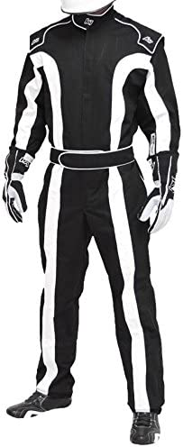 Single Layer SFI-1 Proban Cotton Fire Suit Black//White, Large//X-Large K1 Race Gear Triumph 2