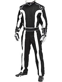 K1 Race Gear Triumph 2, Single Layer SFI-1 Proban Cotton Fire Suit (Black/White, XX-Large) (20-TR2-NW-2XL)
