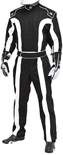K1 Race Gear Triumph 2, Single Layer SFI-1 Proban Cotton Fire Suit (Black/White, Medium)