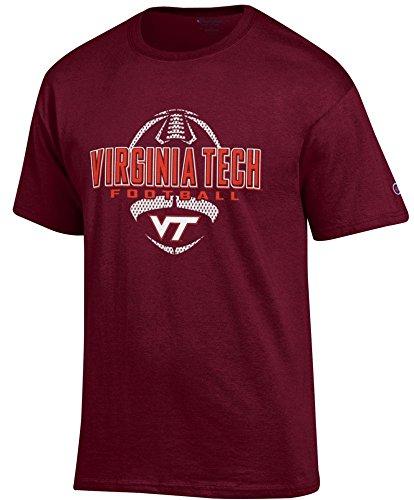 Virginia Tech Sidelines Jersey - Virginia Tech Hokies Maroon Football Short Sleeve T Shirt by Champion (X-Large)