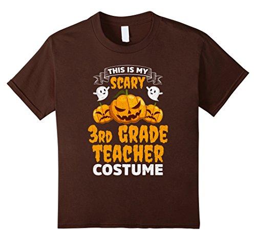 Kids Scary 3rd Grade Teacher Costume Funny Halloween Shirt 4 Brown (Halloween Costumes 3 People)