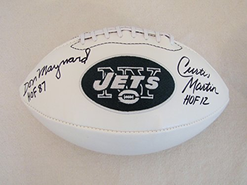 Maynard Autographed New York Jets - Curtis Martin & Don Maynard Dual Autographed New York Jets Logo Football With Hall of Fame Inscriptions