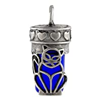 Perfect Memorials Cat Cobalt Glass Cremation Jewelry