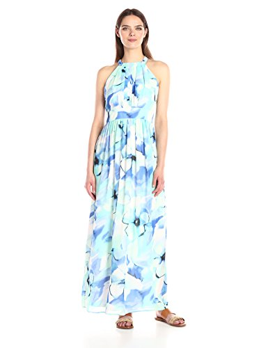 Nine West Women's Pleated Bodice with Shirring at Waist Maxi Dress, Ice Blue/Multi, (Nine West Ice)