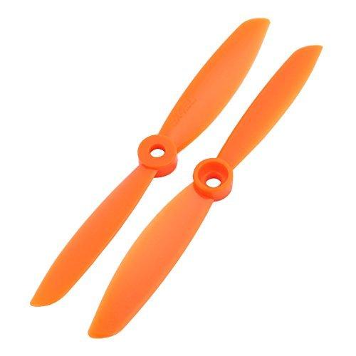 DealMux 1Paire de plastique orange RC Prop Hélice Paddle 5045+ anneau adaptateur Arbre