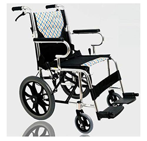 NKDK Wheelchair Folding Lightweight Ultra Light Elderly Disabled Travel Wheelchair Trolley Aluminum Wheelchair