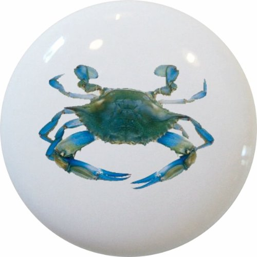 Carolina Hardware and Decor 1606-2 Blue Crab Ceramic Cabinet Drawer (Crab Cabinet)