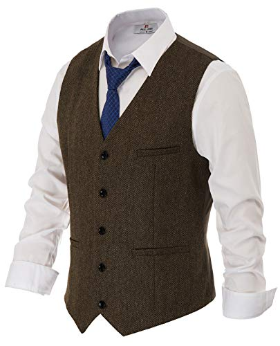 Men's Vintage Gentleman British Suit Vest Herringbone Tweed Vest Size M Coffee