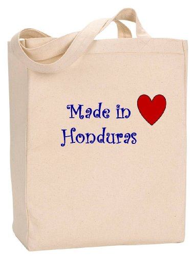 MADE IN HONDURAS - Country Series - Natural Canvas Tote Bag with - Shopping Rosa Santa In