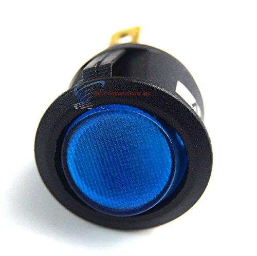 12-Volt-Round-3-Prong-BLUE-LED-Rocker-Switch-SPST-Toggle-Switch-12V-5-Pack