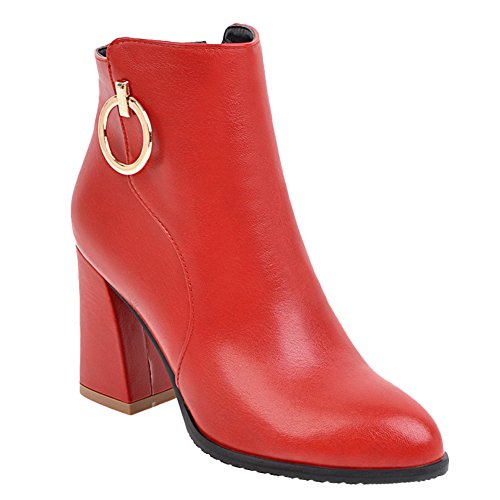 Women's Chnuky Dress Boots Show High Heel Red Zip Ankle Shine wATn00Eq56