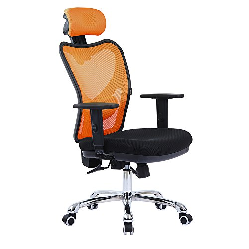 LSCING High Back Comfortable Mesh Office Chair with Adjustable Headrest, Armrest and Lumbar Support, Orange - Office Chair Mesh Back