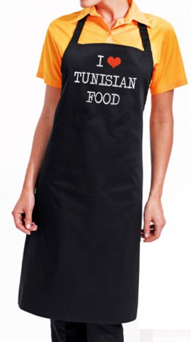 Bertie's I Love Tunisian Food Apron, Cuisine of Tunisia, fantastic foodie gourmet gift with wrapping and gift message service available
