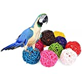 "Stock Show 10Pcs/Pack 1.57"" Rattan Balls Bird Chew Toy DIY Accessories Toy for Parrot Budgie Parakeet Cockatiel Conure Lovebird Finch Macaw African Grey Cockatoo(Color Assorted)"
