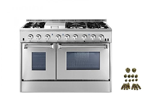 48″ Dual Fuel Range 6 Burner With Double Oven and Griddle + LP Conversion Kit Bundle