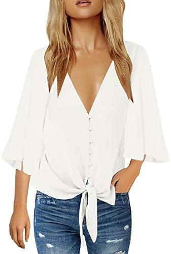 LookbookStore Womens Button Blouse Sleeve