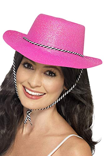 Smiffy's Cowboy Glitter Hat With Cord Plastic - Neon Pink -