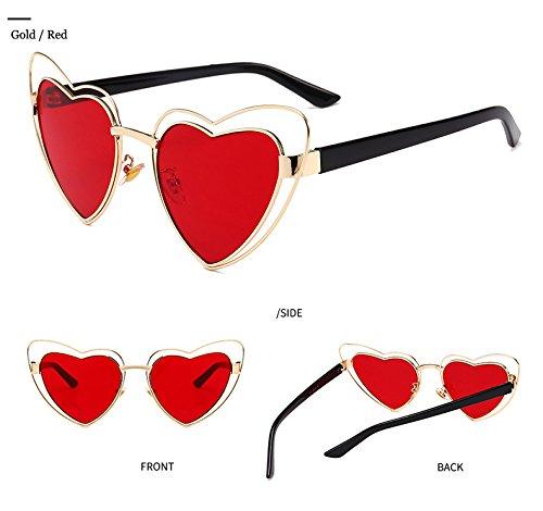 sol las del gato TM forma de marco manera de del de transparente lente amor del Marca de Zokra ojos coraz¨®n de hueco metal muj la del rojo las gafas para sol vendimia mujeres la de los la coraz¨®n Gafas qTtzwxH
