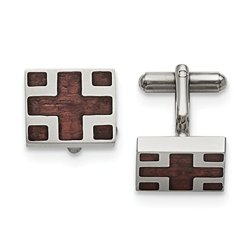 Men's Stainless Steel and Wood Inlay Cross Rectangular Cuff Links - Rectangular Steel Cufflinks
