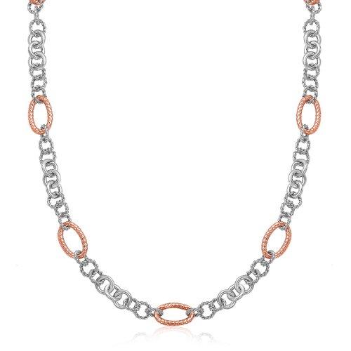 18K Rose Gold & Sterling Silver Oval Rope Motif Link Necklace (18k Motif Necklace)