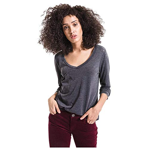 Z SUPPLY Women's The Long Sleeve V Neck Pocket Tee (Medium, -