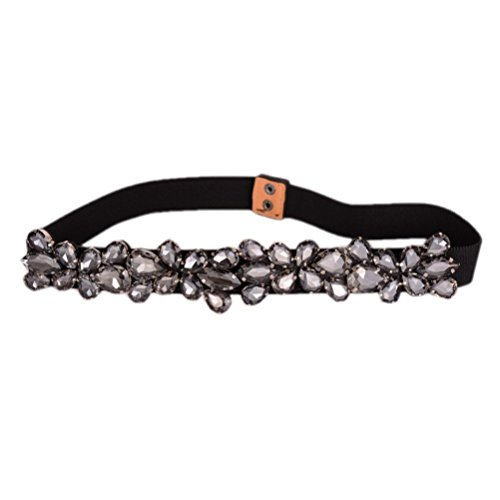 [Dorchid Women's Long Rhinestone Floral Thin Belts Interlocking Black] (Black Beaded Belt)