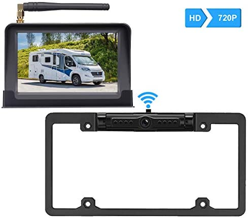 ZSMJ Digital Wireless Backup Camera Kit, HD 720P Reverse Camera Kit with Super Night Vision, IP69 Waterproof Rear View Camera 5 LCD Monitor for Trucks RV Vans Trailers On Off Guides Lines