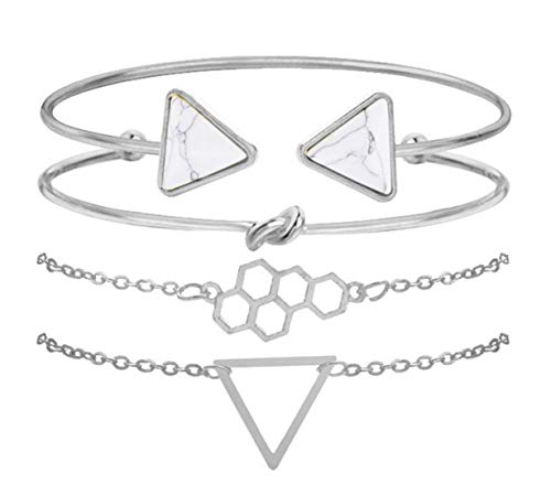 Silver Casual Geometric & Twist Detail Bracelet Set,Silver ()