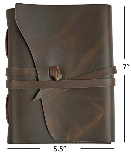 (Ricco Bello Artista Handmade Leather Journal Sketchbook, 280 Unlined Pages - 5.5 x 7 in. (Brown))
