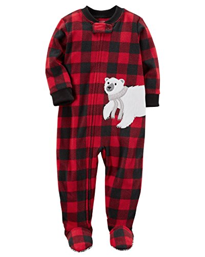 Carter's Boys' 12M-7 One Piece Polar Bear Fleece Pajamas 12 Months, Red/Black