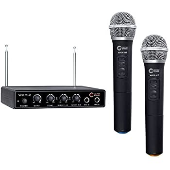 nady wkm 2x wireless karaoke mixer with two wireless handheld microphones plus two. Black Bedroom Furniture Sets. Home Design Ideas