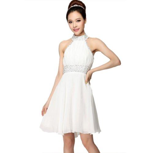 Abendkleider Dearta A Aermellos Reissverschluss Weiß Kurz Mini Linie Neckholder Damen Chiffon Kleidungen rXqnXHgv