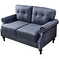 Container Furniture Direct Myer Collection Upholstered Linen Loveseat with Wood Legs and Accent Pillow, Blue