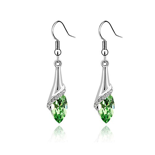 Plated Crystal Silver Swarovski Apple (Sinlifu Silver Plated Swarovski Elements Crystal Earrings Women Earring Jewelry (Apple Green))