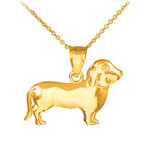 Polished 14k Gold Weiner Dog Charm Dachshund Pendant Necklace, 18