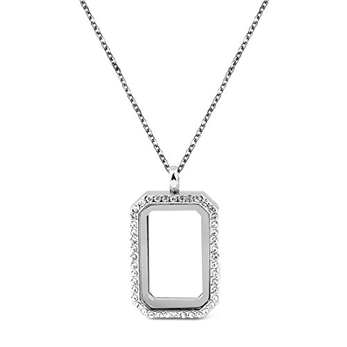 DIY Rectangle Glass Floating Living Memory Charms Locket Pendant Necklace, 25 Inches (Rectangle White Gold Pendant)