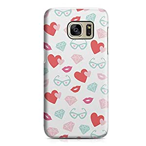 Samsung S7 Edge Case Cute love ly Heart Pattern For Valentines Day, Great For Girls Sleek Scratch Resistant Samsung S7 Edge Cover Wrap Around 43