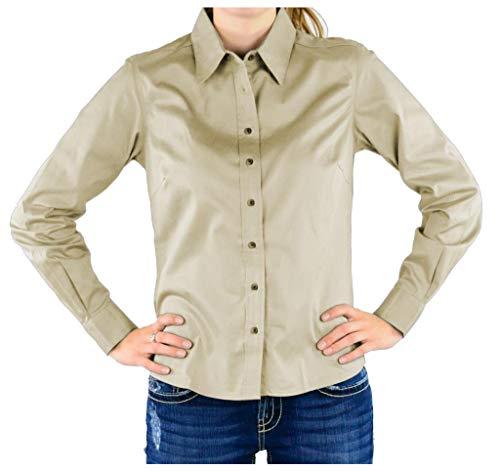 Chestnut Hill Ladies Performance Plus Long Sleeve Twill - Stone/Light Blue CH605W ()