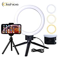 """7"""" LED Selfie Ring Light Kit with Tripod Stand, Phone Stand and Phone Holder 2800-5500K 80pcs LED Beads for Live Stream/Makeup Photography Camera Video Vlog Lighting Kit (US Stock)"""