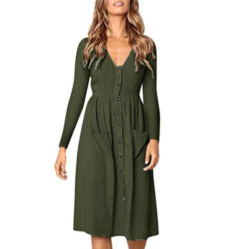Neck Button Dress Long Sleeve Dress with Pockets Beach Wear (Army Green, Large) ()
