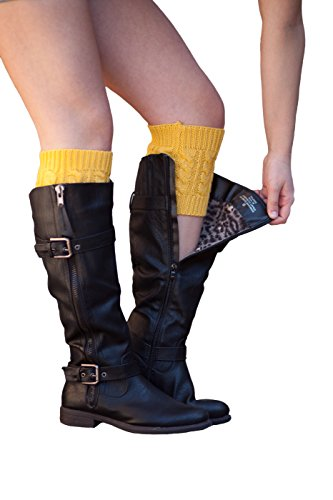 Knit Boot Cuffs Cable Knit Boot Toppers by Modern Boho (Mustard)