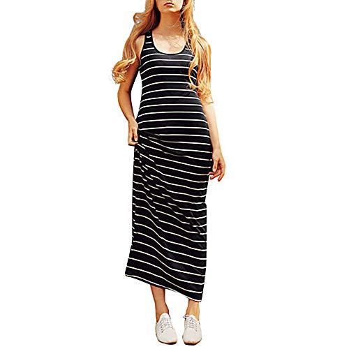 TTDRESS Mujer Algodón Recto Vestido Maxi/Primavera,Black,XL