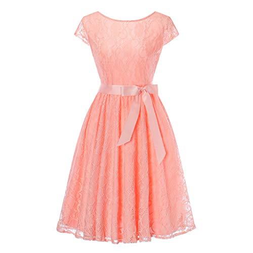 Rakkiss Women Vintage Skirt Solid Lace Belt Hepburn Skirt Bow Knee-Length Elegant Dress Evening Party Swing Dress Pink