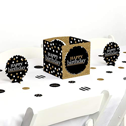 Big Dot of Happiness Adult Happy Birthday - Gold - Birthday Party Centerpiece & Table Decoration Kit -