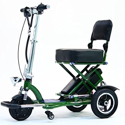 TRIAXE SPORT Foldable Electric Mobility Scooter + Cane & Cup Holder (Green)